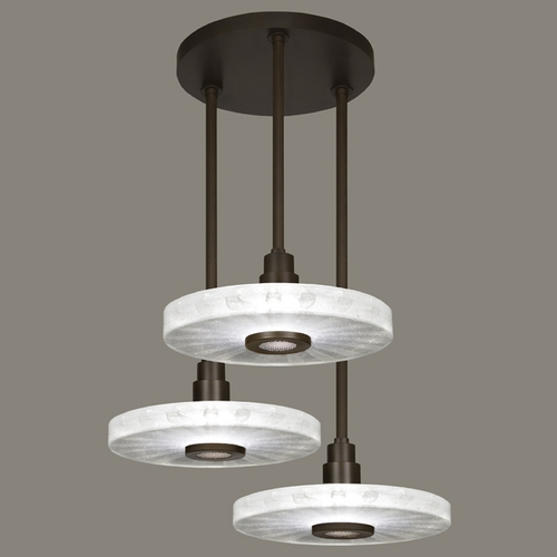 Fine Art Lamps Fine Art Lamps Crystal Bakehouse Bronze Multi-Light Pendant with Drum Shade 823640-13ST