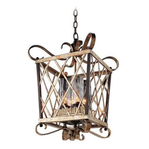 Kalco Lighting Kalco Lighting Trellis Antique Silver Leaf Pendant Light with Cylindrical Shade 6531AF