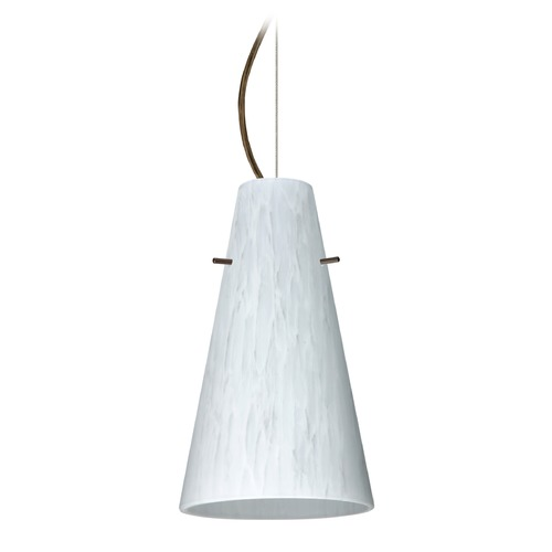 Besa Lighting Besa Lighting Cierro Bronze LED Mini-Pendant Light with Conical Shade 1KX-412419-LED-BR