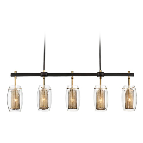 Savoy House Savoy House Lighting Dunbar Warm Brass / Bronze Island Light with Oblong Shade 1-9061-5-95