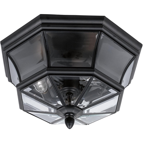 Quoizel Lighting Traditional Close To Ceiling Light with Clear Glass in Mystic Black Fi NY1794K