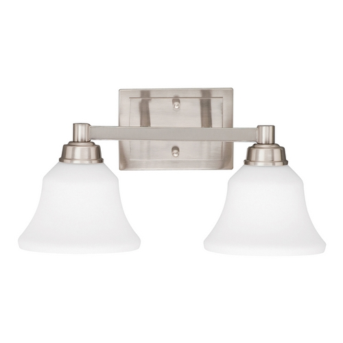 Kichler Lighting Kichler Bathroom Light with White Glass in Brushed Nickel Finish 5389NI