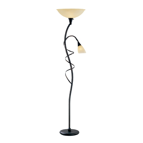 Lite Source Lighting Modern Torchiere Lamp with Amber Glass in Bronze Finish LS-81571