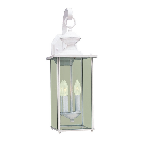 Sea Gull Lighting Outdoor Wall Light with Clear Glass in White Finish 8468-15