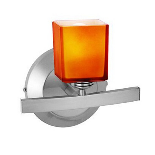 Access Lighting Modern Sconce Wall Light with Amber Glass in Matte Chrome Finish 63811-18-MC/AMB