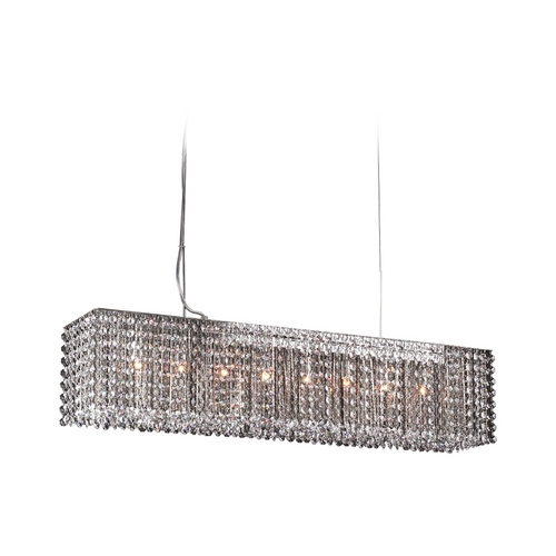 PLC Lighting Modern Island Light with Clear Glass in Polished Chrome Finish 72103 PC