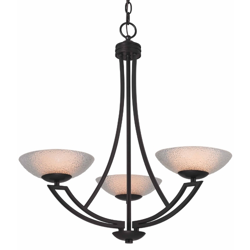 Dolan Designs Lighting Bronze Chandelier with Three Lights and Seeded Glass Shades 1907-46
