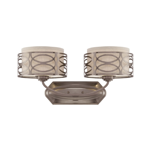 Nuvo Lighting Modern Bathroom Light with Beige / Cream Shades in Hazel Bronze Finish 60/4722
