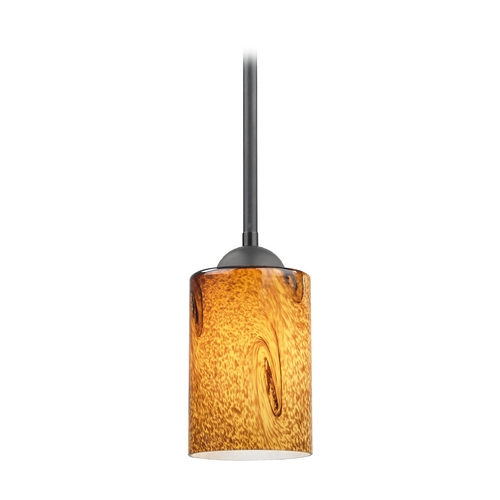 Design Classics Lighting Modern Mini-Pendant Light with Brown Art Glass 581-07  GL1001C