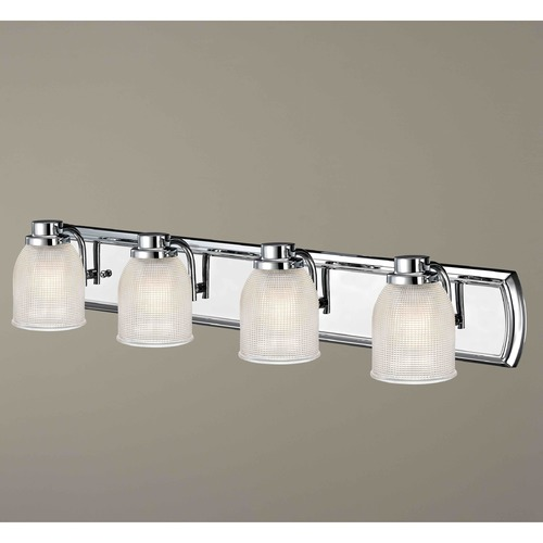 Design Classics Lighting 4-Light Bathroom Light with Clear Prismatic Glass in Chrome Finish 1204-26 GL1058-FC