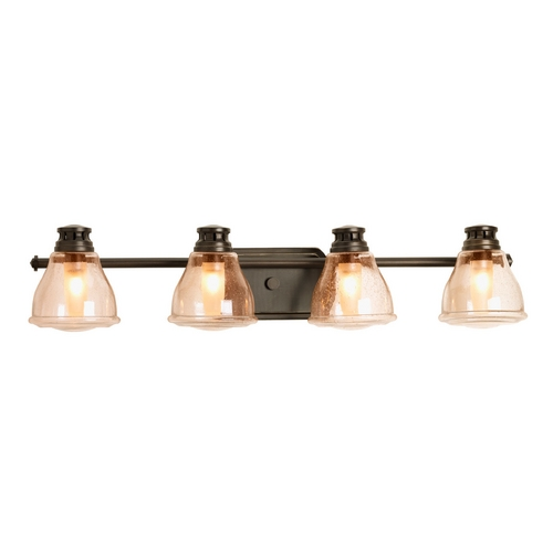 Progress Lighting Progress Bathroom Light with Brown Glass in Antique Bronze Finish P2813-20WB