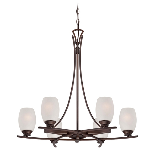 Minka Lavery Etched White Seeded Glass Chandelier Bronze Minka Lavery 4956-267B
