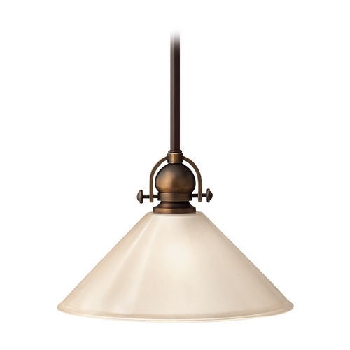 Hinkley Lighting Pendant Light with Amber Glass in Olde Bronze Finish 4151OB