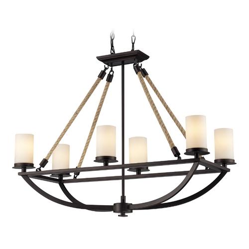 Elk Lighting Chandelier with White Glass in Aged Bronze Finish 63018-6