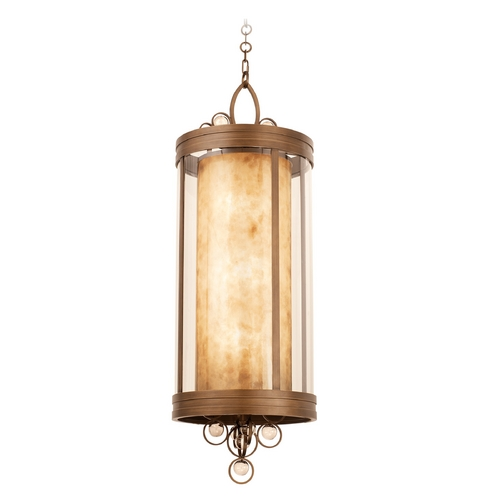 Kalco Lighting Kalco Lighting Sandhurst Antique Brass Pendant Light with Cylindrical Shade 6550AB