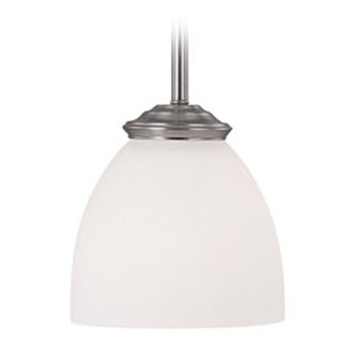 Capital Lighting Capital Lighting Chapman Matte Nickel Mini-Pendant Light with Bowl / Dome Shade 3941MN-202