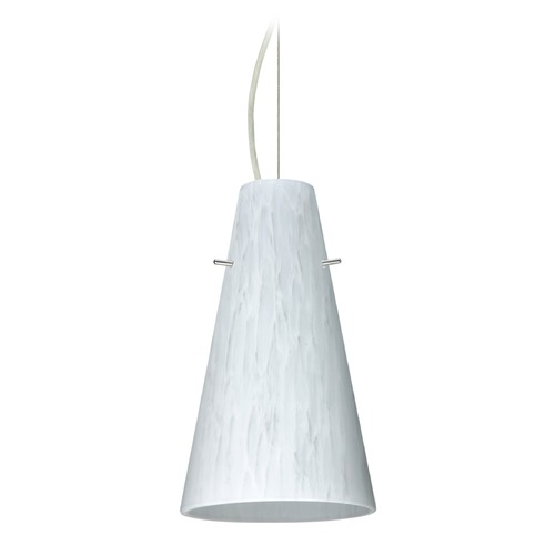 Besa Lighting Besa Lighting Cierro Satin Nickel LED Mini-Pendant Light with Conical Shade 1KX-412419-LED-SN