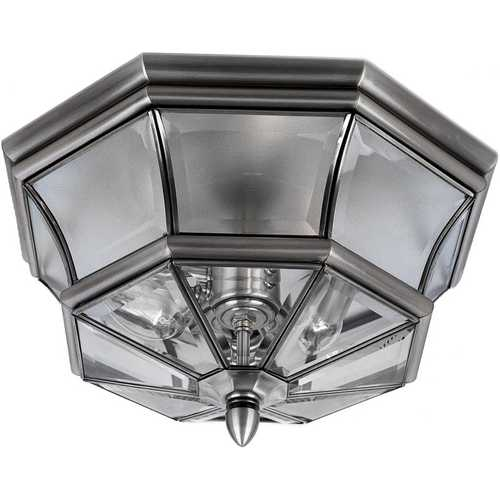 Quoizel Lighting Modern Close To Ceiling Light with Clear Glass in Pewter Finish NY1794P
