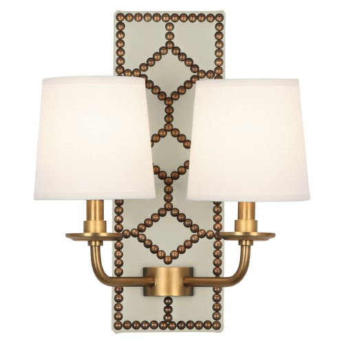 Robert Abbey Lighting Robert Abbey Lighting Williamsburg Lightfoot Wall Sconce with Fondine Fabric Shades 1032