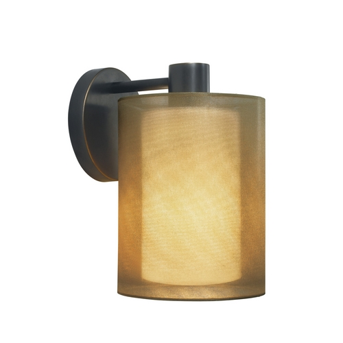 Sonneman Lighting Modern Sconce Wall Light with Brown Shade in Black Brass Finish 6004.51F