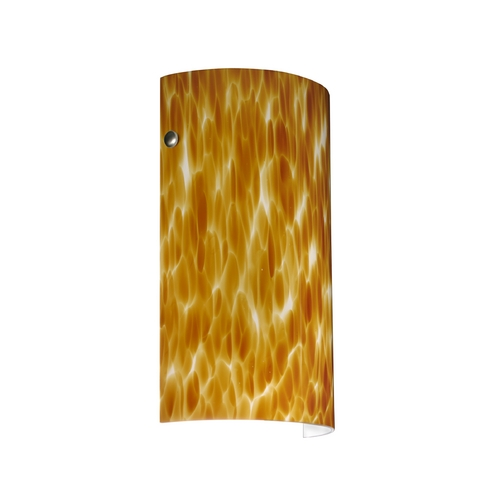 Besa Lighting Modern Sconce Wall Light with Amber Glass in Satin Nickel Finish 704218-SN