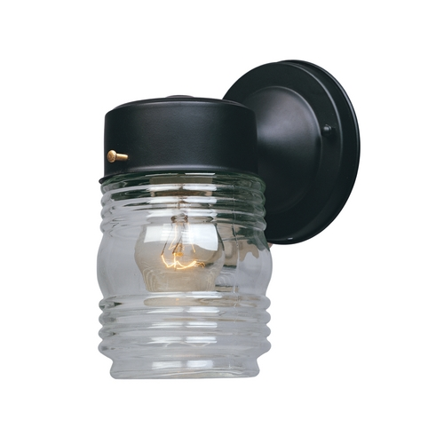Designers Fountain Lighting Outdoor Wall Light with Clear Glass in Black Finish 2061-BK