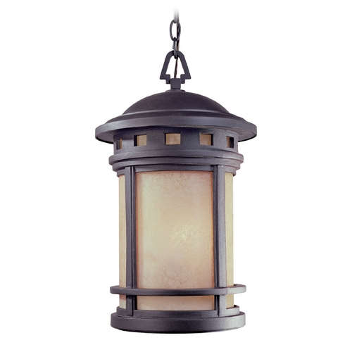 Designers Fountain Lighting Outdoor Hanging Light with Amber Glass in Oil Rubbed Bronze Finish 2394-AM-ORB