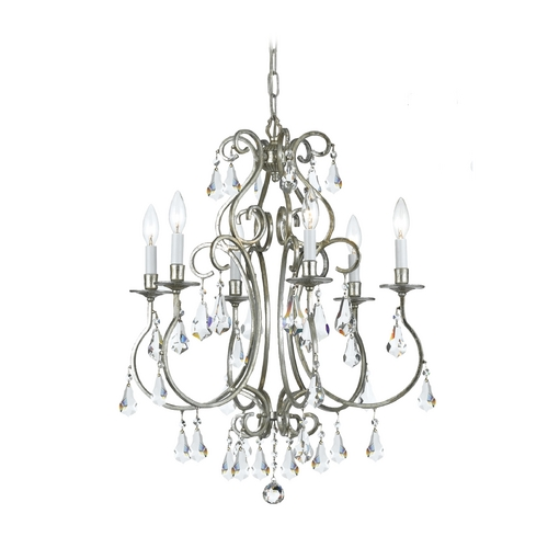 Crystorama Lighting Crystal Mini-Chandelier in Old Silver Finish 5016-OS-CL-MWP