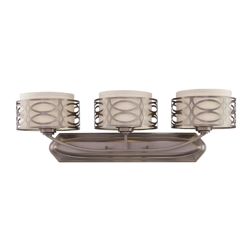 Nuvo Lighting Modern Bathroom Light with Beige / Cream Shades in Hazel Bronze Finish 60/4723