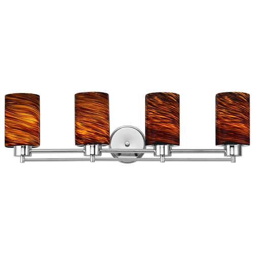 Design Classics Lighting Modern Bathroom Light with Brown Art Glass - Four Lights 704-26 GL1023C