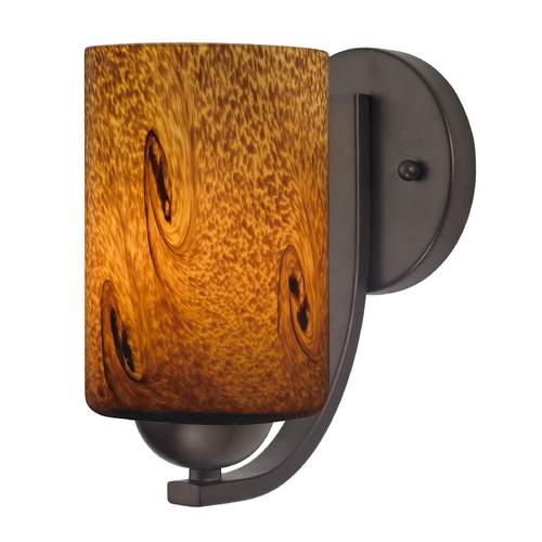 Design Classics Lighting Sconce with Brown Art Glass in Bronze Finish 585-220 GL1001C