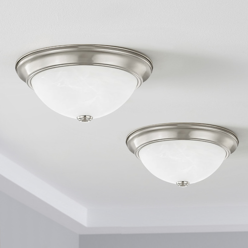 Design Classics Lighting LED 13-Inch Satin Nickel Flushmount Lights with Alabaster Glass - Pack of Two 613-09/ALB (2 PACK)