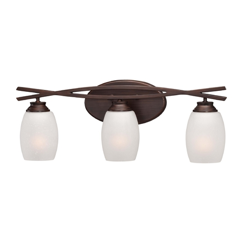 Minka Lavery Bathroom Light with White Glass in Dark Brushed Bronze Finish 6953-267B