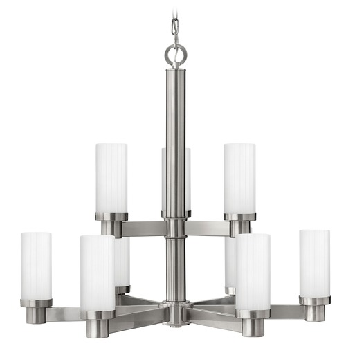 Hinkley Lighting Chandelier with White Glass in Brushed Nickel Finish 4978BN