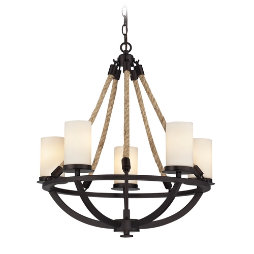 Elk Lighting Chandelier with White Glass in Aged Bronze Finish 63041-5