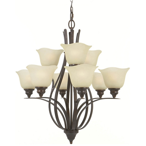 Feiss Lighting Chandelier with Beige / Cream Glass in Grecian Bronze Finish F2053/6+3GBZ