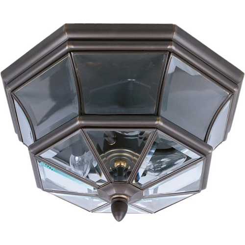 Quoizel Lighting Traditional Close To Ceiling Light with Clear Glass in Medici Bronze F NY1794Z