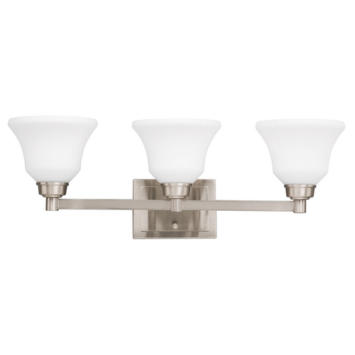 Kichler Lighting Kichler Bathroom Light with White Glass in Brushed Nickel Finish 5390NI