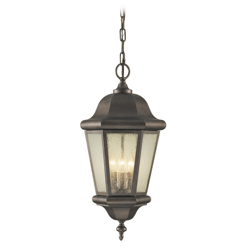 Feiss Lighting Outdoor Hanging Light with Clear Glass in Corinthian Bronze Finish OL5911CB