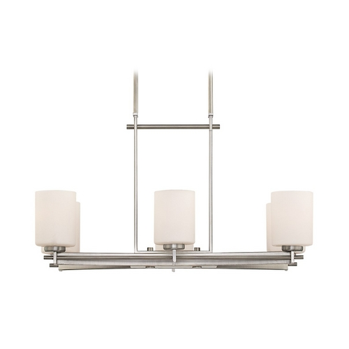 Quoizel Lighting Modern Island Light with White Glass in Antique Nickel Finish TY628AN