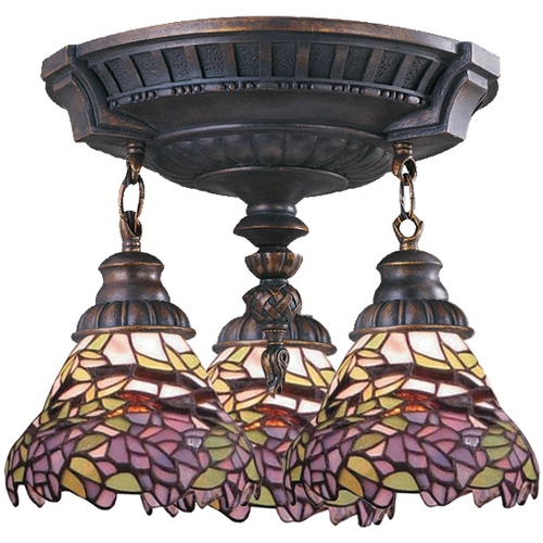 Elk Lighting Semi-Flushmount Light with Tiffany Glass in Aged Walnut Finish 997-AW-28