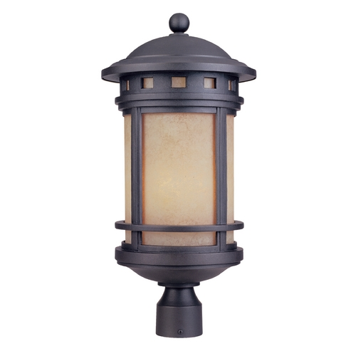 Designers Fountain Lighting Post Light with Amber Glass in Oil Rubbed Bronze Finish 2396-AM-ORB