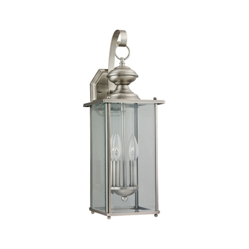 Sea Gull Lighting Outdoor Wall Light with Clear Glass in Antique Brushed Nickel Finish 8468-965