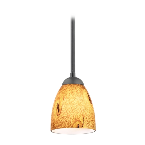 Design Classics Lighting Modern Mini-Pendant Light with Brown Art Glass 581-07  GL1001MB