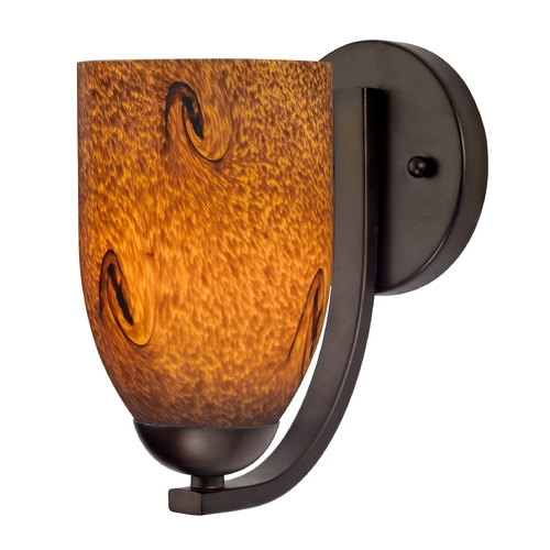 Design Classics Lighting Sconce with Brown Art Glass in Bronze Finish 585-220 GL1001D