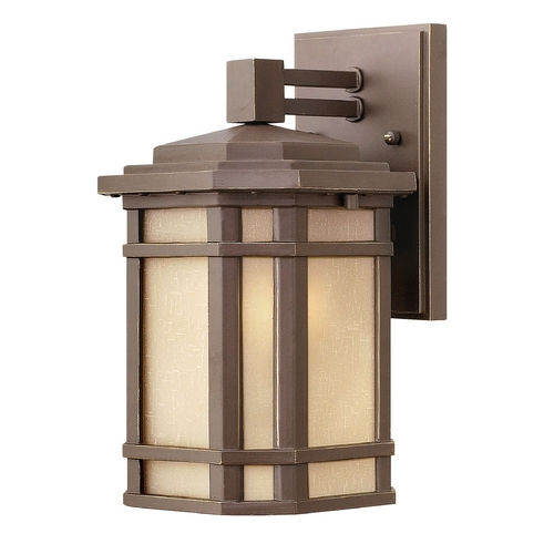 Hinkley Lighting Outdoor Wall Light with Amber Glass in Oil Rubbed Bronze Finish 1270OZ-GU24