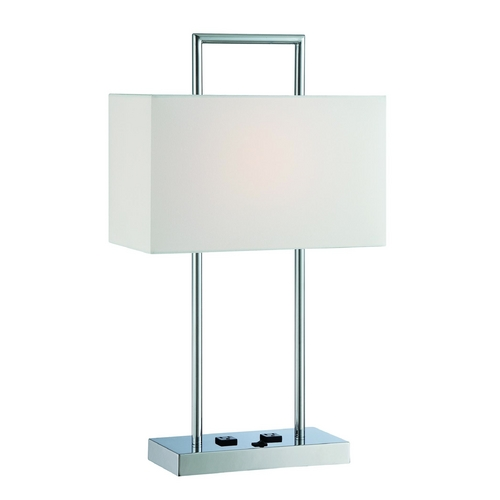 Lite Source Lighting Lite Source Lighting Jaymes Chrome Table Lamp with Rectangle Shade LS-22473