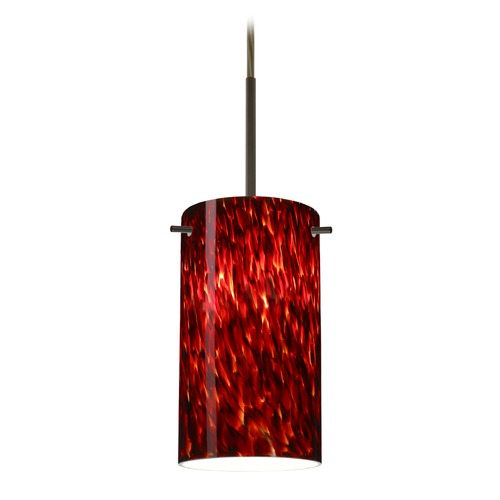 Besa Lighting Besa Lighting Stilo Bronze LED Mini-Pendant Light with Cylindrical Shade 1BT-440441-LED-BR