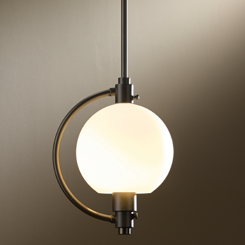 Hubbardton Forge Lighting Hubbardton Forge Lighting Pluto Dark Smoke Mini-Pendant Light with Globe Shade 18870-202-07-G436