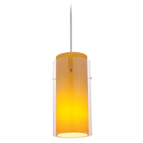Access Lighting Access Lighting Glass`n Glass Cylinder Brushed Steel Mini-Pendant Light with Cylindrical Shade 28033-4C-BS/CLAM